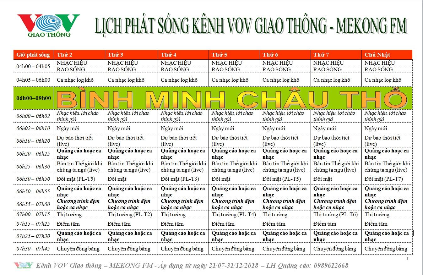 Lịch phát sóng kênh MeKong FM